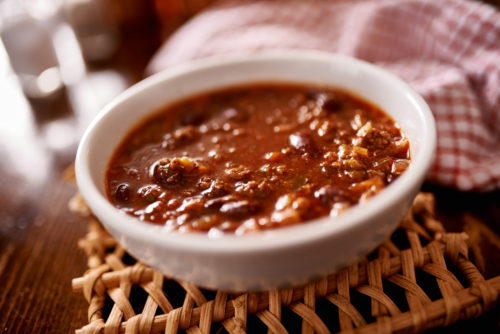 bowl of chili shot with selective focus